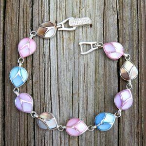 Vintage 925 Mother Of Pearl Inlay Link Bracelet